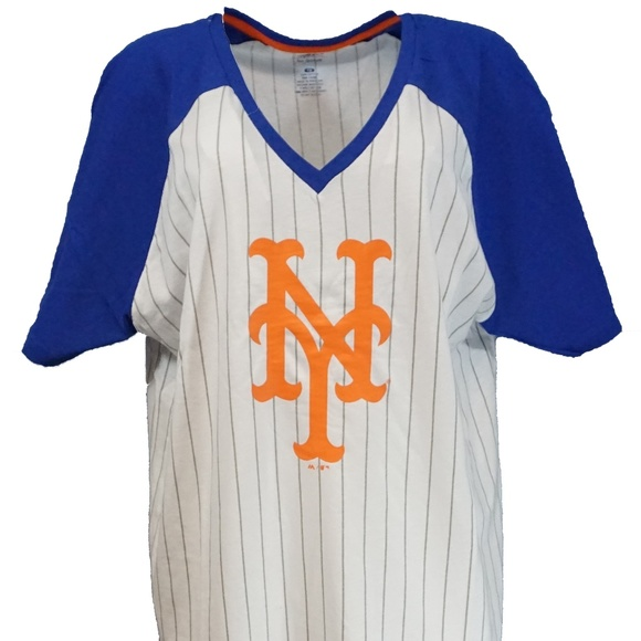the best attitude 3de32 c7ea2 New York Mets MLB Pinstripe Raglan V Neck T Shirt Boutique